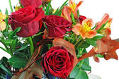 Fragment of bouquet of roses and lilies isolated on white backgr — Stock Photo