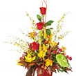 Colorful flower bouquet arrangement centerpiece in vase isolated — Stock Photo