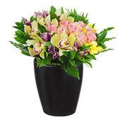 Blommig bukett av rosor, liljor och orkidéer arrangemang centerpi — Stockfoto