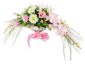 Floral bouquet of roses and orchids arrangement centerpiece isol — Stock Photo