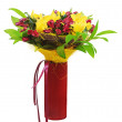 Colorful flower bouquet arrangement centerpiece in red vase isol — Stock Photo #35103761