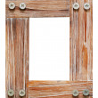 Decorative wooden photo frame isolated on white background. — Stock Photo