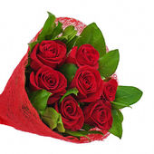 Flower bouquet from red roses isolated on white background. — Stock Photo
