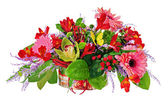 Floral arrangement from lilies, gerbera flowers and orchids in c — Stock Photo