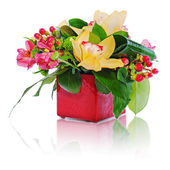 Colorful floral bouquet of roses, cloves and orchids arrangement — Stock Photo