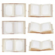 Set of old open photo albums isolated on white background. — Stock Photo