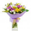 Colorful bouquet from gerberas in glass vase isolated on white b — Stock Photo