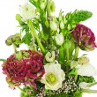 Stock Photo: Fragment of colorful bouquet isolated on white background. Close