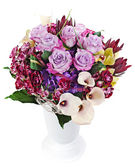 Floral bouquet of roses, lilies and orchids isolated on white ba — Stock Photo