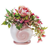Colorful bouquet from roses and peon flowers in vase isolated on — Foto de Stock