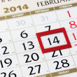 Calendar page with red frame on February 14 2014. — Stock Photo #38680889