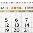 Stock Photo: Calendar page on February 2014.