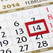 Stock Photo: Calendar page with red frame on February 14 2014.
