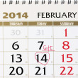Calendar page with red heart on February 14 2014. — Stock Photo