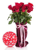 Bouquet from red roses in vase and balloon isolated on white bac — Stock Photo