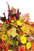Autumn arrangement of flowers, vegetables and fruits isolated on — Stock Photo