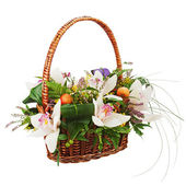 Bouquet from orchids in in wicker basket isolated on white backg — Stok fotoğraf