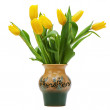 Flower bouquet from yellow tulips in vase isolated on white back — Stock Photo