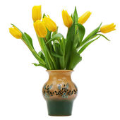 Flower bouquet from yellow tulips in vase isolated on white back — Stok fotoğraf