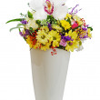 Colorful flower bouquet in vase isolated on white background. — Stock Photo