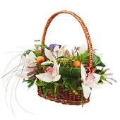 Bouquet from orchids in in wicker basket isolated on white backg — Foto de Stock