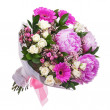 Bouquet from peon and gerbera flowers and roses isolated on whit — Stock Photo #41469063