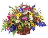 Flowers bouquet arrangement centerpiece in wicker basket isolate — Stock Photo