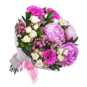 Bouquet from peon and gerbera flowers and roses isolated on whit — Stock Photo