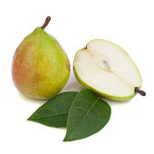 Pears with green leaves isolated on white background. — Stockfoto