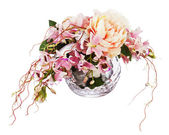 Bouquet from peon flowers and orchids. — Stock Photo