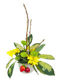 Bouquet from flowers, berries and pussy willows branches. — Stockfoto