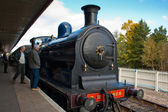 Caley 828 pulls in Aviemore station — Stock Photo