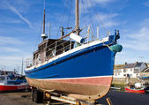 Fishing boat on trailer — Stock Photo