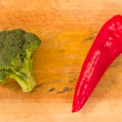 Broccoli and pointed red pepper — Stock Photo
