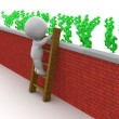3D Man Climbing Ladder to get to money over wall - Stock Photo