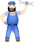 Maintenance Man with wrench vector cartoon — Stock Vector