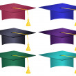 Multiple Colored Graduation Hats Vector — Stock Vector