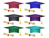 Multiple colored graduation hats and diplomas — Stock Vector