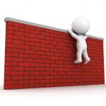 3D Man trying to climb wall — Stock Photo #36162745