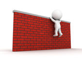 3D Man trying to climb wall — Stock Photo