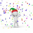 3D Man with elf hat and confetti — Stock Photo #42362233
