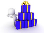 3d homme agitant derrière la pile de cadeaux emballés — Photo