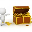 3D Character With Treasure Chest and Gold Coins — Stock Photo #42566315