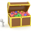 3D Treasure Chest with Easter Eggs and 3D Character — Stock Photo #44620971