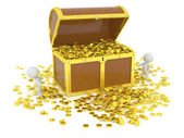 Huge 3D Treasure Chest with Gold Coins and 3D Characters — Stock Photo