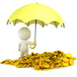 3D Man holding Umbrella over Pile of Gold Coins — Stock Photo #51415863