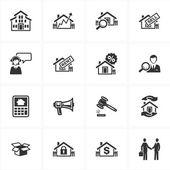 Immobiliare icone — Vettoriale Stock