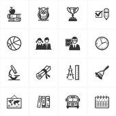 Scuola e istruzione 3 set di icone — Vettoriale Stock