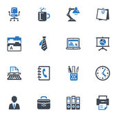 Office icons - blauwe reeks — Stockvector