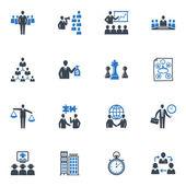 Administración y negocios serie iconos - azul — Vector de stock